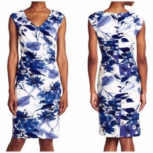Adrianna Papell Floral Print Cotton Sheath Dress 4